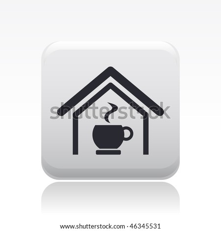 Vector illustration of modern glossy icon depicting a bar or coffe room - stock vector