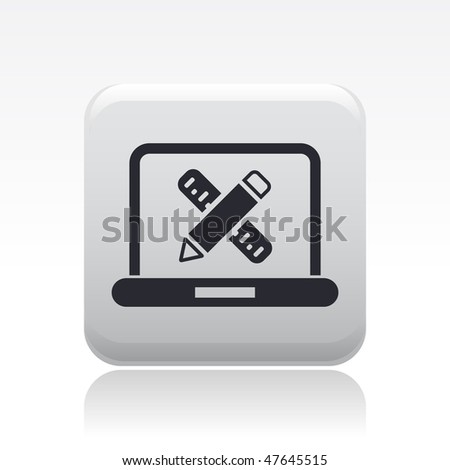 Vector illustration of modern glossy icon depicting a cumputer design or architecture software