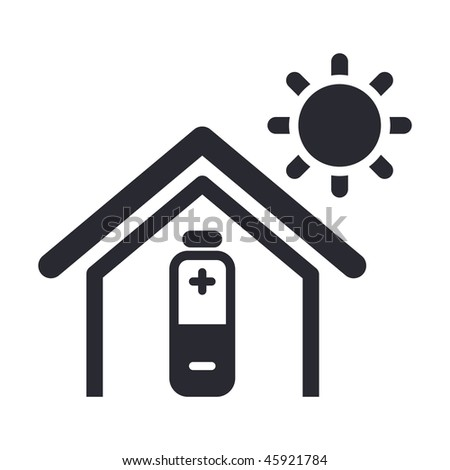 Vector illustration of modern glossy icon depicting a home powered by solar energy