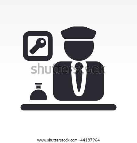 Vector illustration of modern glossy icon depicting a hotel porter symbol