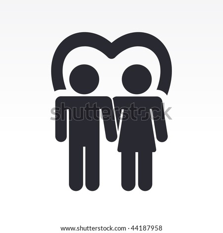 Vector illustration of modern glossy icon depicting a pair of lovers symbol