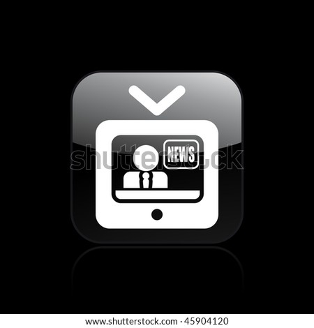Vector illustration of modern glossy icon depicting a televised news