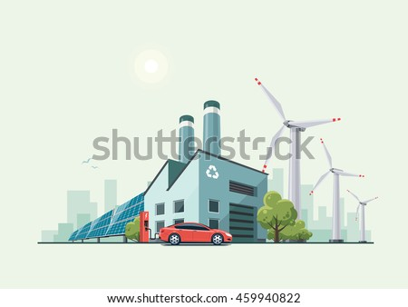 Vector illustration of modern green eco factory building with green trees and electric car charging in front of the manufacture in cartoon style. Solar panels and wind turbines in the background.