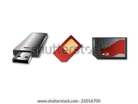 Vector illustration of modern, hi-tech  memory  Device icons.