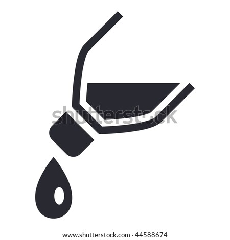 Vector illustration of modern icon depicting a bottle pouring liquid