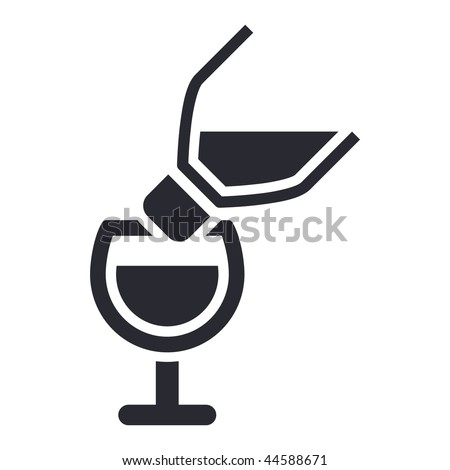 Vector illustration of modern icon depicting a bottle pouring liquid into a glass
