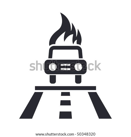 Vector illustration of modern icon depicting a car fired on a street