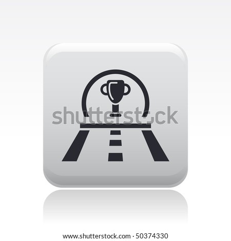 Vector illustration of modern icon depicting a cup icon on race