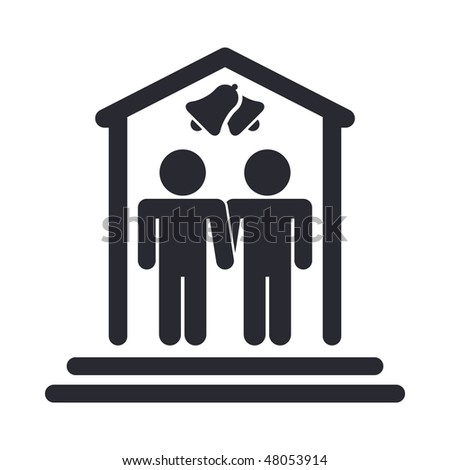 Vector illustration of modern icon depicting a gay marriage