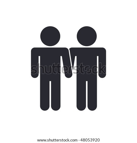 Vector illustration of modern icon depicting a gay union - stock vector