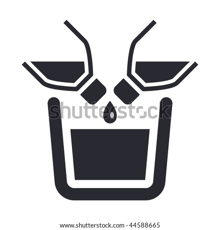 Vector illustration of modern icon depicting two bottles pouring liquid into a container