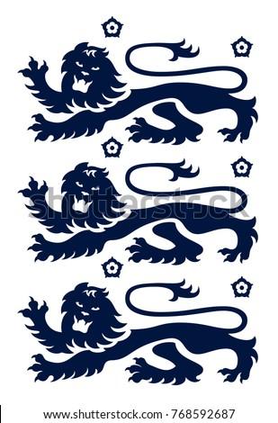 Vector illustration of modern 3 lion crest from England, UK