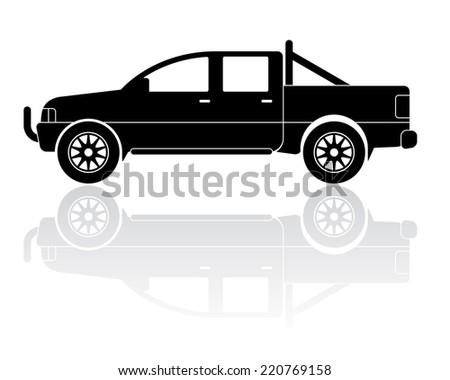 Vector Illustration of modern pickup truck silhouette