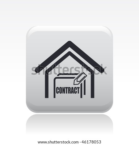 Vector illustration of modern single icon depicting a contract for the purchase of a home