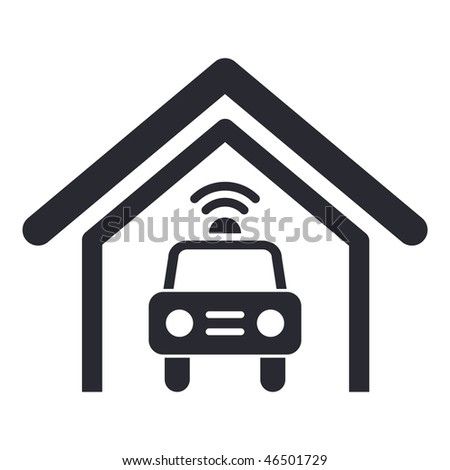 Vector illustration of modern single icon depicting a deposit of police car - stock vector