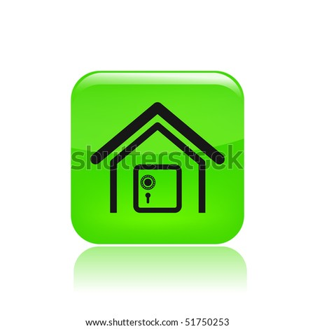 Vector illustration of modern single icon depicting a safe in a house