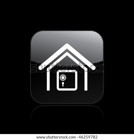 Vector illustration of modern single icon depicting a strongbox in a house