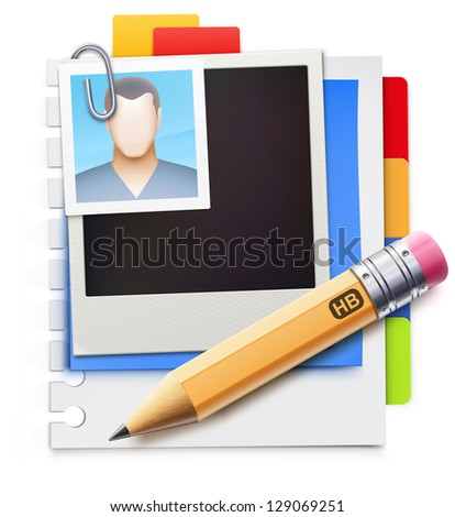 Vector illustration of modern stylized blank page with bookmarks, retro polaroid photo frame and detailed pencil