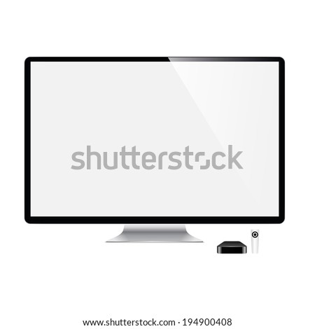 vector illustration of modern television monitor on a white background