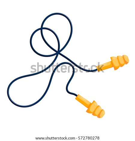 Vector illustration of modern yellow ear plugs on a white background. Cartoon style 