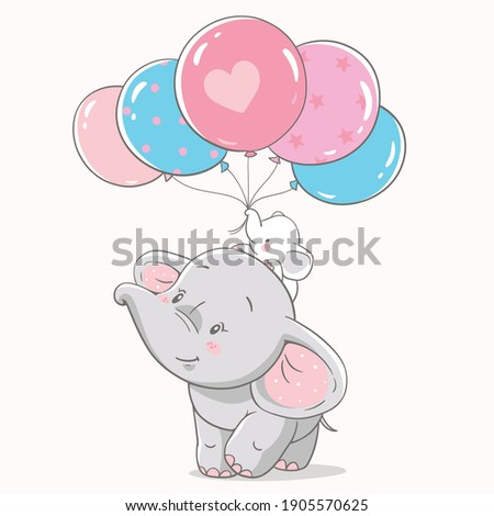 Vector illustration of mom and baby elephant with bunch of pink and blue balloons.