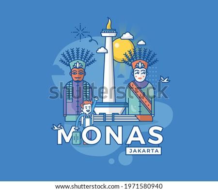 Vector Illustration of Monas Jakarta Indonesia Landmark