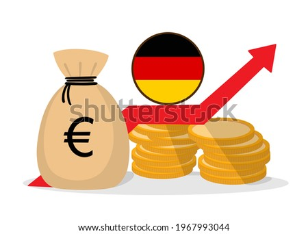 Vector illustration of money ups in the Germany, up arrow, stock price appreciation chart, wealth, financial market concept. Investment income, improving the level of a good economy