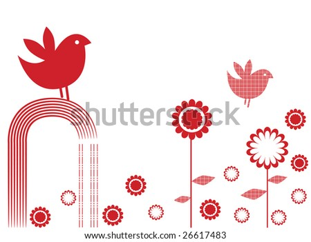 Vector illustration of mono coloured card design, with birds and flowers