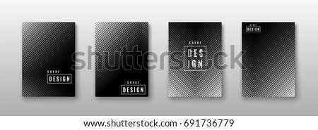Vector illustration of monochrome abstract pattern background set with black and white line gradient texture for minimal dynamic cover design. Geometric poster template