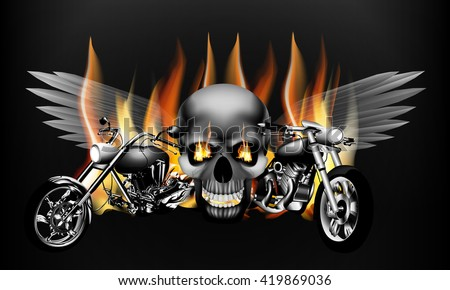 Vector illustration of monochrome fiery motorcycle on the background of a skull with wings isolated
