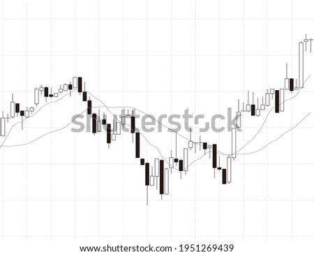 Vector illustration of monotone chart candlesticks and moving averages ストックフォト ©