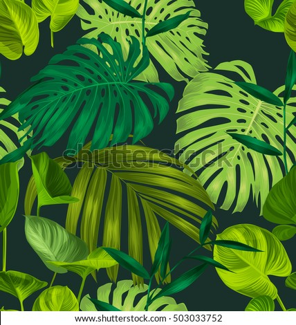 Vector Illustration of Monstera and palm leave seamless pattern