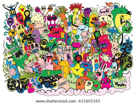 vector illustration of monsters