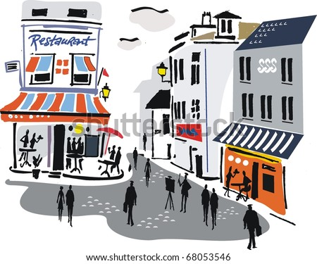 Vector illustration of Montmartre, Paris, France.