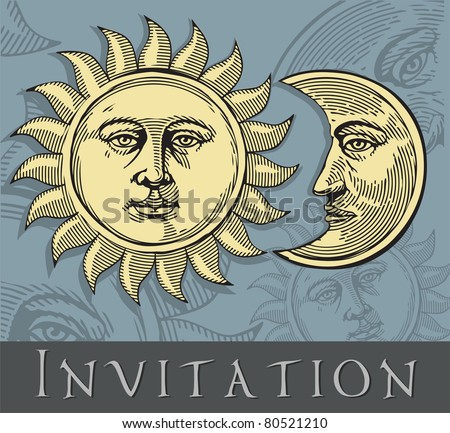 Vector illustration of Moon and Sun with faces (invitation card)