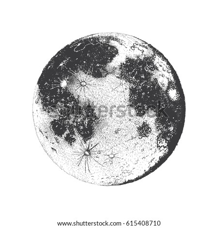 Vector illustration of Moon, dots