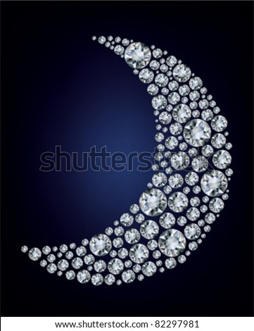 Vector illustration of moon shape made up a lot of diamond on the black background