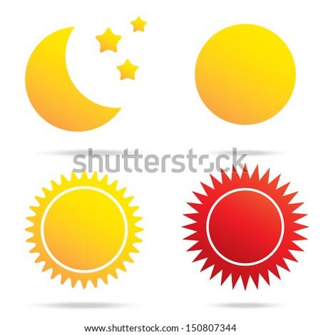 vector illustration of moon sun