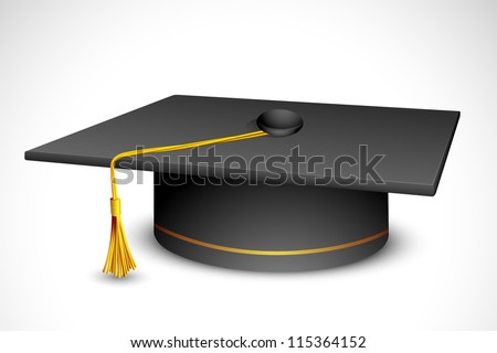 vector illustration of mortar board against white background