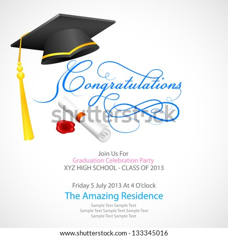 vector illustration of mortar board with graduation scroll