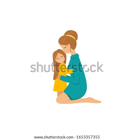 Vector illustration of mother cuddling daughter isolated. Flat characters of parent and child. Mom is sitting on knees and hugging little girl. Cute concept design of mother's love and happy family Foto stock ©