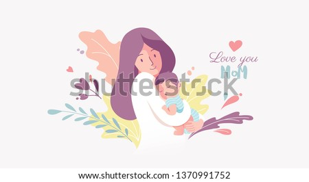 Vector Illustration Of Mother Holding Baby Son In Arms. Happy Mother`s Day Greeting Card.