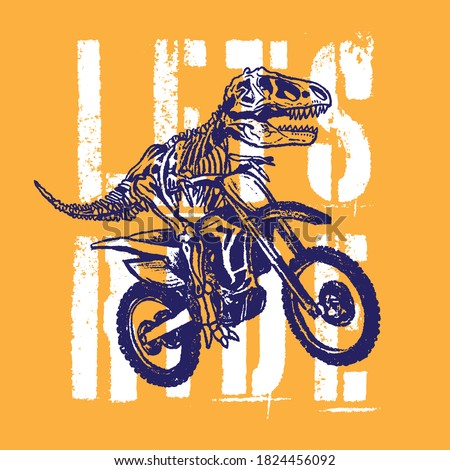 Vector illustration of motorcycle riding dinosaur skeleton