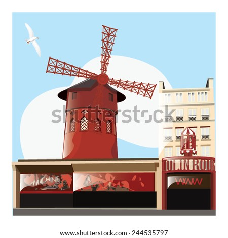 vector illustration of moulin