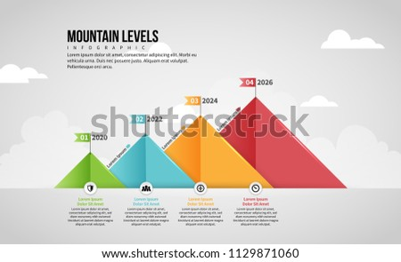 Vector illustration of Mountain Level Infographic design element.