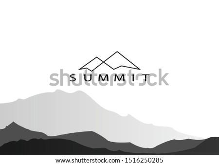 vector illustration of Mountain, Nature concept logo, Summit, Peak - Vector ストックフォト ©