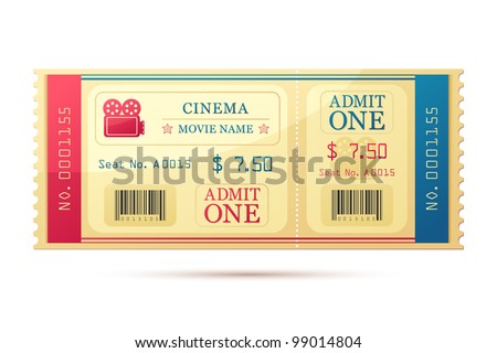vector illustration of movie ticket against white background