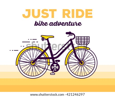 Vector illustration of moving fast bicycle with basket and text just ride on yellow gradient background. Bike adventure concept. Thin line art flat design of female bicycle, riding on bicycle, cycling