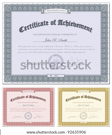 Vector illustration of multicolored certificates