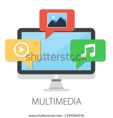 "Vector illustration of multimedia files and social media with ""multimedia"" communication concept"